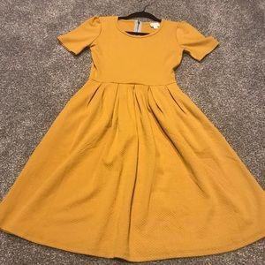 LLR XS Mustard yellow solid Amelia midi dress